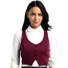 Aiihoo Women's V Neck Button Down Fitted Racer Back Classic Waistcoat Vest Business Career Dressy Suit at Women's Clothing store
