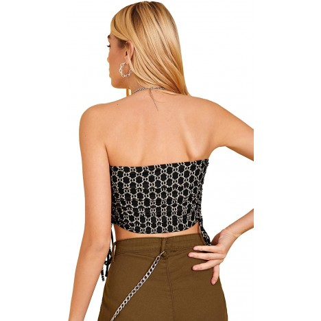 Floerns Women's Strapless Drawstring Side All Over Print Bandeau Crop Tube Top at Women's Clothing store