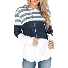 Choha Women's Casual Striped Color Block Long Sleeve Drawstring Pullover Hoodie Sweatshirts at Women's Clothing store