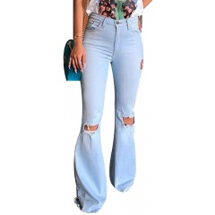 Women's Retro Ripped Bell Bottom Jeans Fashion High Waisted Flared Denim Pants Classic Distressed Side Knee Holes Stretchy Skinny Jeans with Pockets LightBlue TAG SFits Like US S at Women's Jeans store