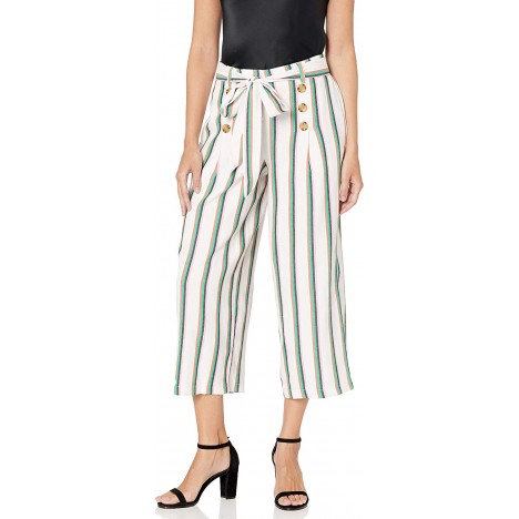 ECI New York Women's Stripe Pants with Button and Belt Details at Women's Clothing store