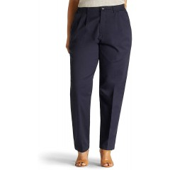 Lee Women's Plus-Size Relaxed Fit Side Elastic Pant Navy 18W Medium at Women's Clothing store Lee Womens Comfort Waist Pants