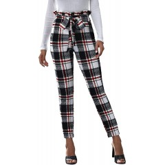 SheIn Women's Striped Paper Bag High Waist Trouser Belted Skinny Cropped Pants at Women's Clothing store