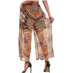 SIMPLY COUTURE Women's Regular & Plus Sizes Palazzo Pant Elastic Waist Sheer Gold Purple Abstract Print at Women's Clothing store