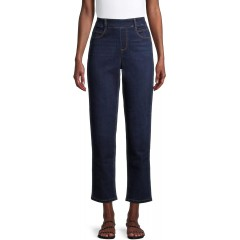 Time & Tru Women's Relaxed Fit 5 Pocket Woven Stretch Pull On Pants at Women's Clothing store