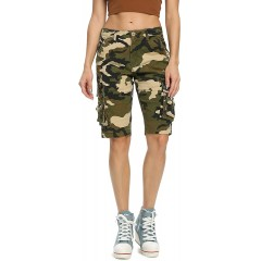 OCHENTA Cargo Shorts for Women Camo Print with 8 Pockets Bermuda Casual Work Outdoor Summer Wear at  Women's Clothing store