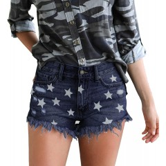 Tulucky Womens Cut Off Denim Shorts Tassel Pentagram Printed Jeans Shorts at Women's Clothing store