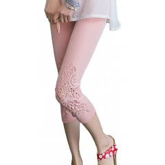 Locomo Women Lace Crochet Floral Casual Pant Capri Cropped Legging FFT223PNK at Women's Clothing store