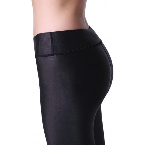 TOP-3 Leggings Yoga Pants Sports Capri High Waisted with Mesh Panels in Black L FBA at Women's Clothing store