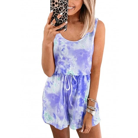 CHOiES record your inspired fashion Women's Tie-dye Tank Top Playsuit Sleeveless Tank Pajama Romper Short Jumpsuit