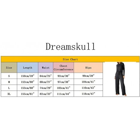 Dreamskull Womens Casual Jumpsuits Scoop Wide Legs Long Sleeve Romers Jumpsuit with Pockets ArmyGreen