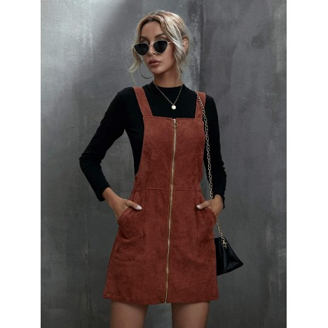 SOLY HUX Women's Straps Corduroy Pinafore Pocket Overall Short Dress