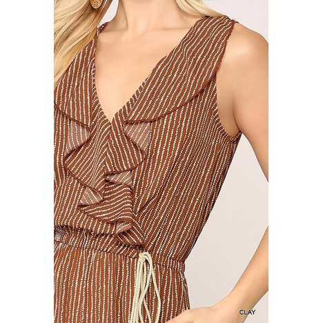 theSimple Women's Summer Sexy Sleeveless V Neck Wide Leg Ruffled Jumpsuits