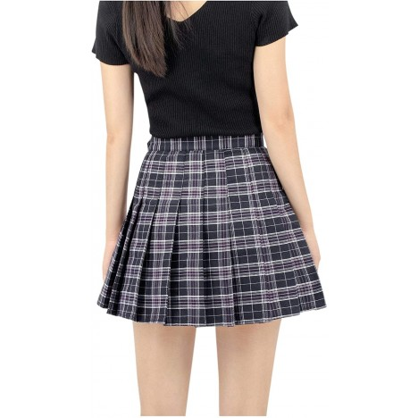 DAZCOS US Size 0-22 Plaid Skirt High Waist Japan School Skirts with Shorts for Women at Women's Clothing store