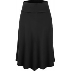 Lock and Love Women's Solid Ombre Lightweight Flare Midi Pull On Closure Skirt S-XXXL Plus Size at Women's Clothing store