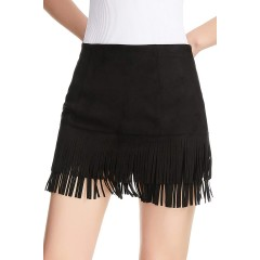 Relish Noless Women Summer Spring Fringe Tassel high Waist Short Stretchy Casual Bodycon Faux Suede Mini Skirt