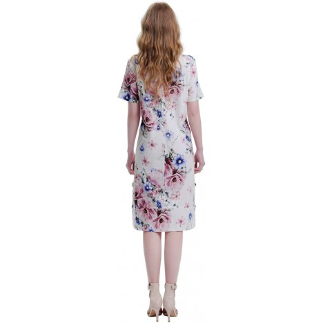HANYOUNG Women Casual Floral Print Short Sleeve Dresses Cotton Linen Plus Size Loose Dresses with Pockets