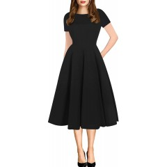 oxiuly Women Casual Dress Round Neck Soft Cotton Floral A-Line Midi Summer Dresses with Pockets OX262 at Women's Clothing store