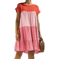 WEEPINLEE Womens Stitching Short Sleeve Round Neck Loose Dresses Casual Summer Dress at  Women's Clothing store