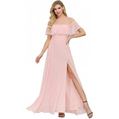 Womens Off The Shoulder Ruffle Party Dresses Side Split Beach Maxi Dress at  Women's Clothing store