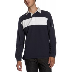 Nautica Men's Chest Stripe Rugby Shirt at Men's Clothing store Polo Shirts