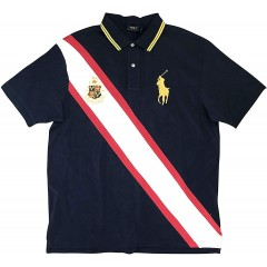 Polo Ralph Lauren Men's Classic-Fit Flag Crest Big Pony Polo Shirt Navy Multi at Men's Clothing store