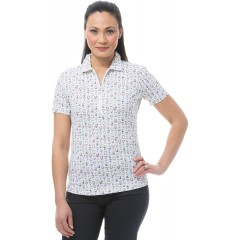 SanSoleil Women's SolCool UV 50 Short Sleeve Fitted Polo Shirt at  Women's Clothing store