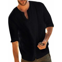 Jacansi Mens Loose Cotton Tunic Casual Beach Long Sleeve V Neck Henley Tops at  Men's Clothing store