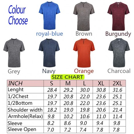 LeeHanTon Mens Athletic Henley Shirts Quick Dry Short Sleeve Slim Fit Casual T Shirts at Men's Clothing store