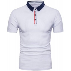 MODCHOK Men's Polo Casual Short Sleeve Shirt Slim Fit Tee Tops Button Neck Collar T with Pocket at Men's Clothing store