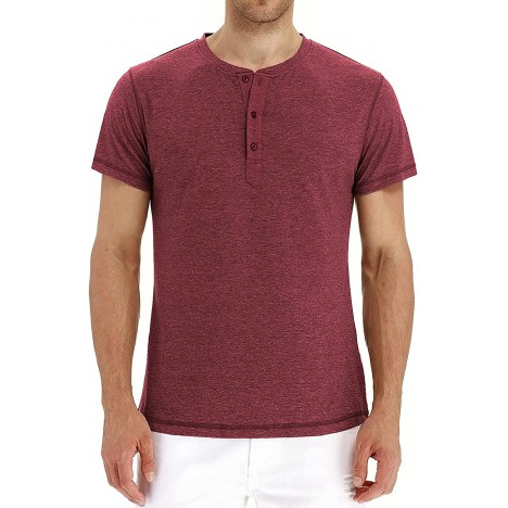 TINSTREE Men's Short Sleeve Henley T-Shirts Lightweight Button Shirts Fashion Casual Front Placket at Men's Clothing store