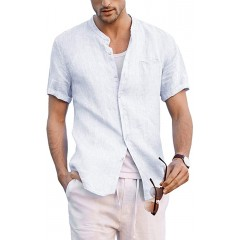 Enjoybuy Mens Linen Button Up Shirts Banded Collar Casual Short Sleeve Summer Comfort T-Shirts at Men's Clothing store