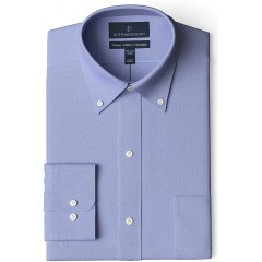 Brand - Buttoned Down Men's Classic Fit Button Collar Solid Non-Iron Dress Shirt Blue w Pocket 19.5 Neck 39 Sleeve