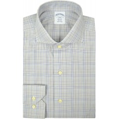 Brooks Brothers Mens Regent Fit Non Iron 100% Cotton Dress Shirt Grey Multi Plaid 15 Neck 34 35 Sleeves at Men's Clothing store