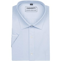 FASHINTY Men's Classical Solid Color Short Sleeve Dress Shirt SE at  Men's Clothing store
