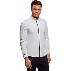oodji Ultra Men's Basic Shirt with Contrast Details White 15 at Men's Clothing store