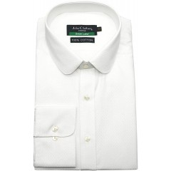Peaky Blinders Mens Penny Round Collar Shirt White Diamond Texture Dobby Star 100% Cotton Shelby Brothers Prime 800-98 17 at Men's Clothing store