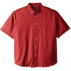 RETOV Men's Cypress Twill Short-Sleeve Shirt with Pocket Red 2X-Large at Men's Clothing store