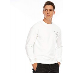 Men's Cotton Sweatshirt With Letter Print Pullover Sweatshirt White X-Large at Men's Clothing store