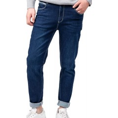 RIV TAIN Power Stretch Jeans, Embroidery,Casual Design Blue 32 at Men's Clothing store