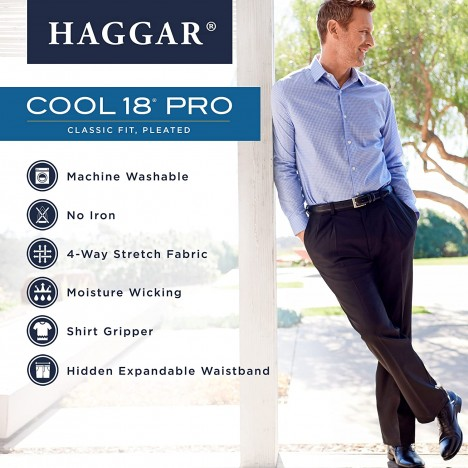 Haggar Men's Cool 18 Pro Classic Fit Pleat Front Hidden Expandable Waist Pant- Regular and Big & Tall Sizes at Men's Clothing store