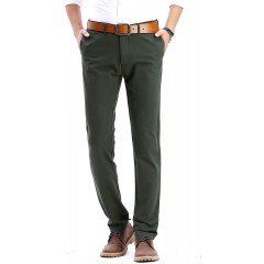 INFLATION Men's Stretchy Slim Fit Casual Pants 100% Cotton Flat Front Trousers Dress Pants for Men at Men's Clothing store