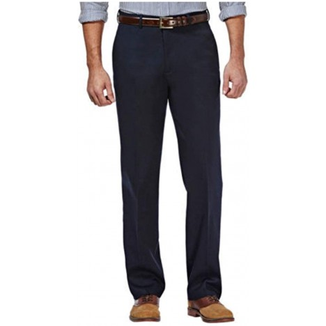 Haggar Clothing Men's Sustainable Stretch Chino Flat Front Straight Fit Pants at Men's Clothing store