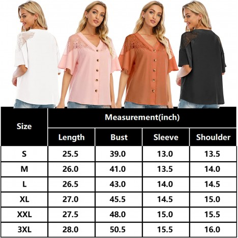 Airmiuu Womens V Neck Button Down Shirts Short Sleeve Lace Blouse Loose Casual Tops at Women's Clothing store