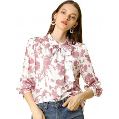 Allegra K Women's Boho Floral Printed Shirts V Neck Pussy Bow Blouse Top at Women's Clothing store