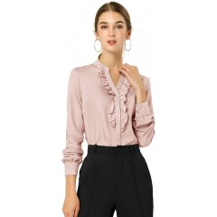 Allegra K Women's Office Ruffled Button Up Long Sleeves Top Chambray Blouse Shirt at Women's Clothing store