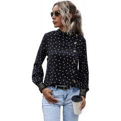 Floerns Women's Heart Print Mock Neck Long Sleeve Blouse Tops at Women's Clothing store