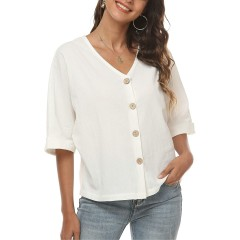 LNX Womens Linen Cotton Summer Shirts Button V Neck Short Sleeve Casual Crop Tops White at Women's Clothing store