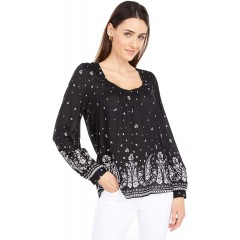 Lucky Brand Women's Puff Sleeve V Neck Paisley Print Peasant Top at Women's Clothing store