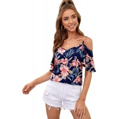 Milumia Women's Cold Shoulder Floral Print Short Sleeve Casual Summer Blouse Top at  Women's Clothing store
